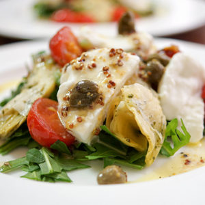 Roasted Cherry Tomato Salad with Artichokes and Bocconcini in a Lemon Caper Dressing