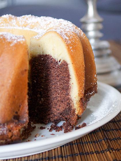 klassische Marmorkuchen mit Vanille