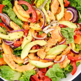 Papaya Avocado Salad in a Sweet Papaya Seed Dressing