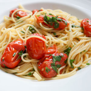 Spaghetti with Anchovies (Spaghetti con Acciughe) and tomatoes