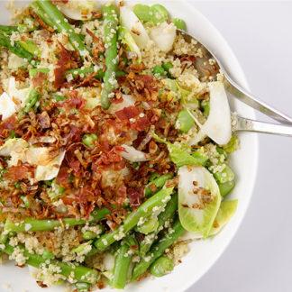 Quinoa Salat mit Erbsen, Spargel und Dicke Bohnen, Ackerbohne, Fava Bohnen