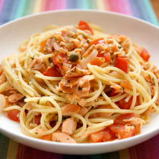 Spaghetti with Smoked Salmon and Capers