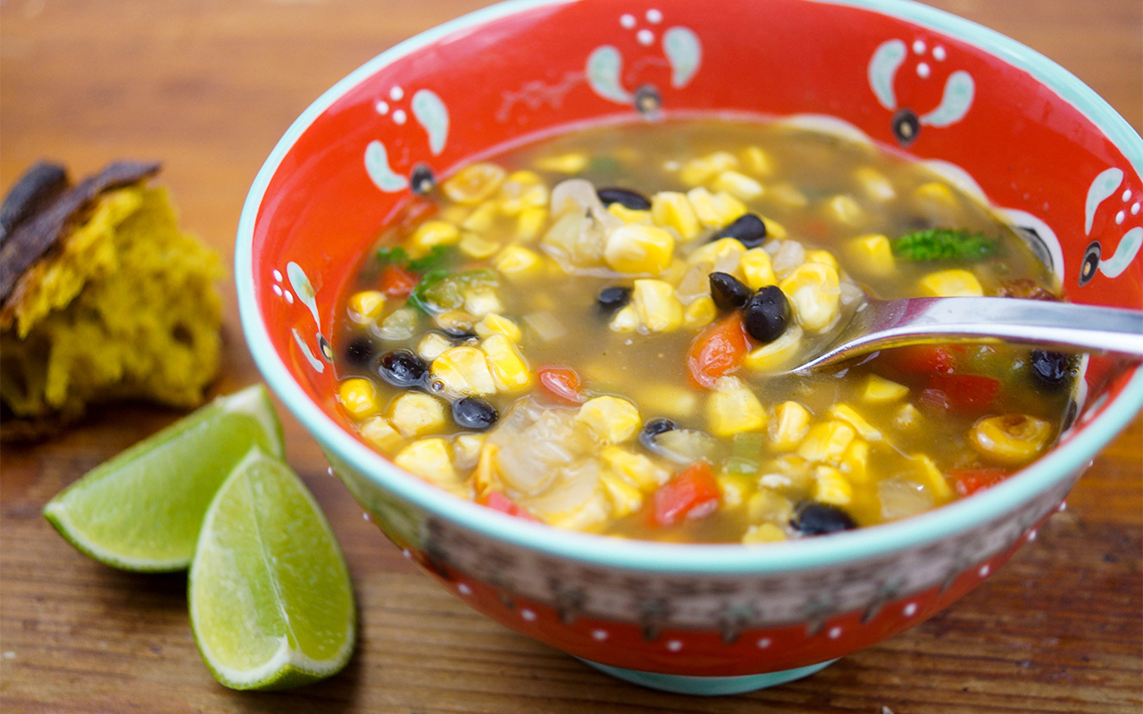 Spicy Black Bean Soup with Roasted Corn