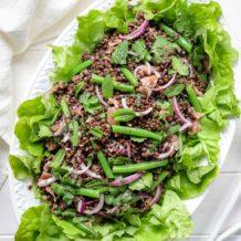 Beluga Linsen Salat mit grünen Bohnen & Zitrone-Minz-Dressing und ParmaschinkenRezept