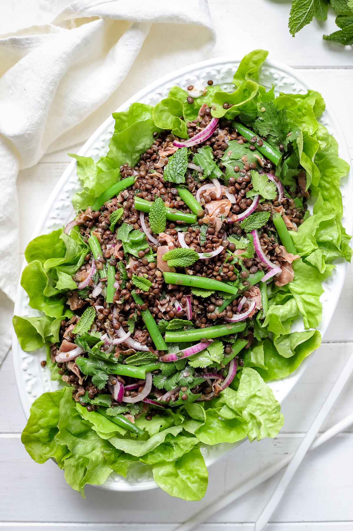 Beluga Lentil Salad With Green Beans Recipe Elle Republic
