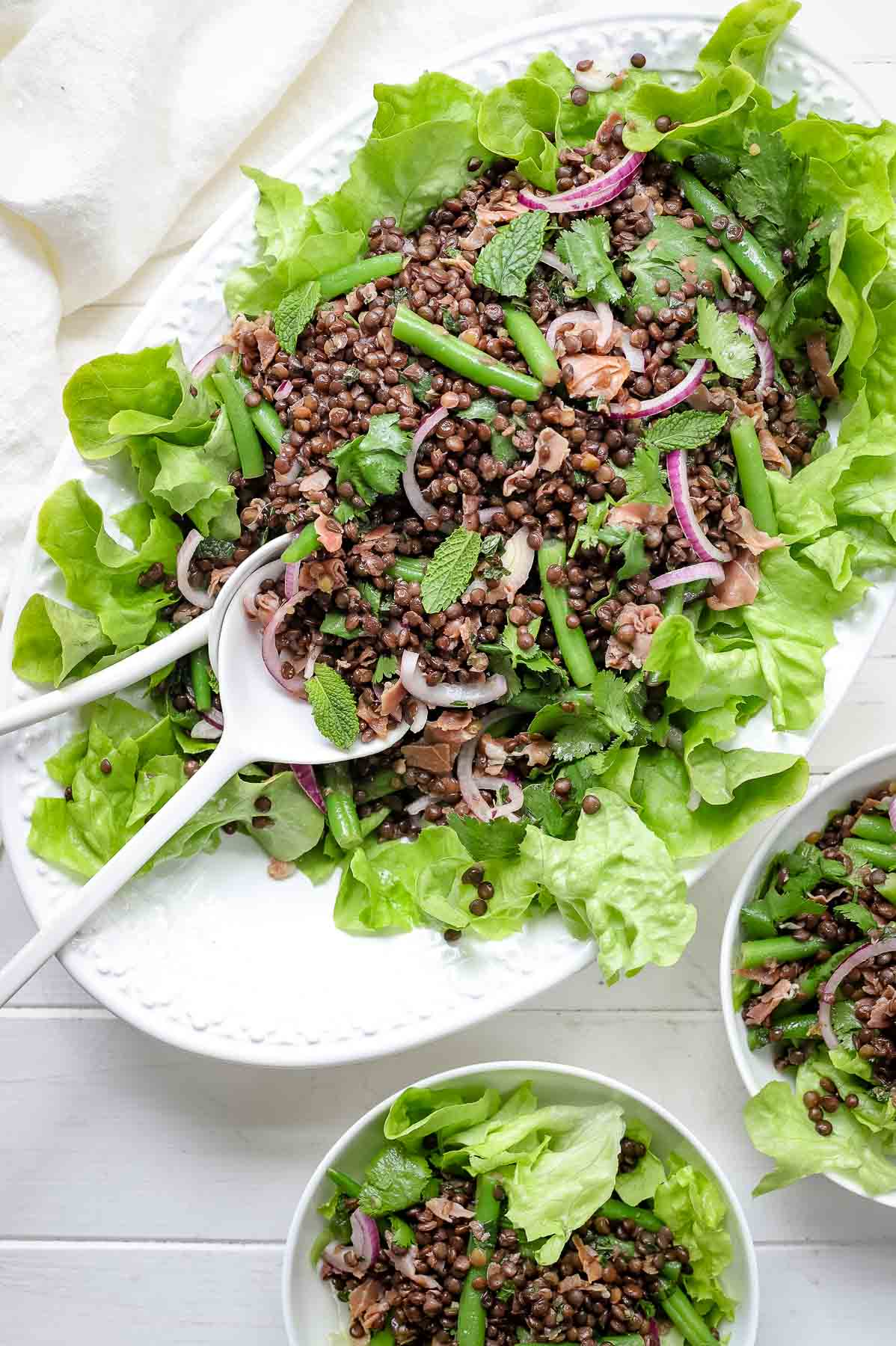 Beluga Lentil Salad with Green Beans & Lemon-Mint Dressing