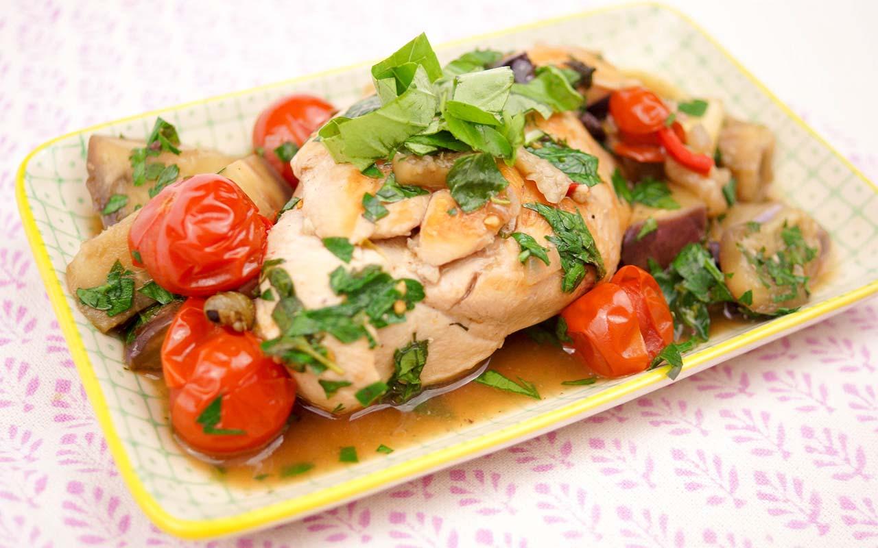 Sicilian Puttanesca Chicken with Eggplant