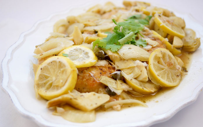 Lemon Chicken with Fennel and Artichokes