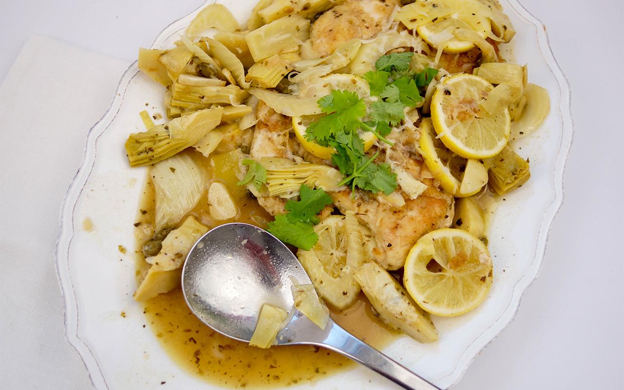 Huhn mit Zitrone, Fenchel und Artischocken