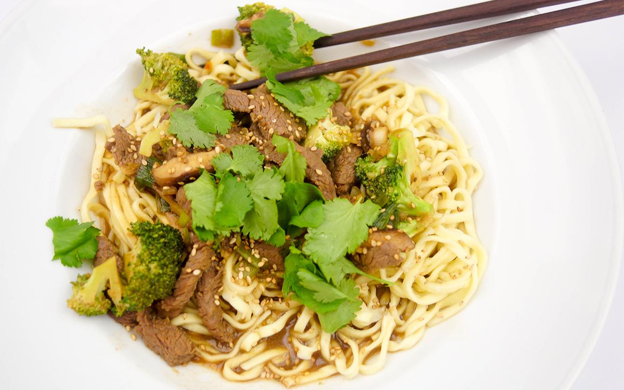 Spicy Mongolian Beef and Shiitake Mushroom Stir-Fry