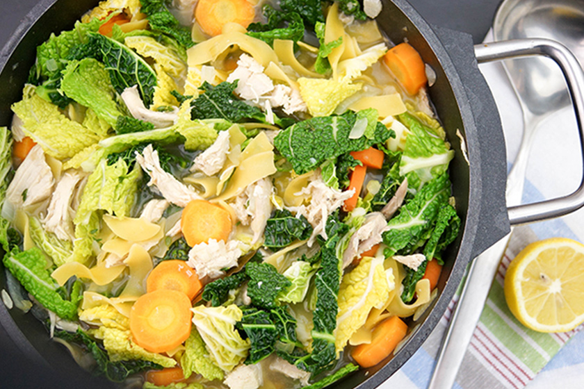 Lemony Chicken Soup with Savoy Cabbage