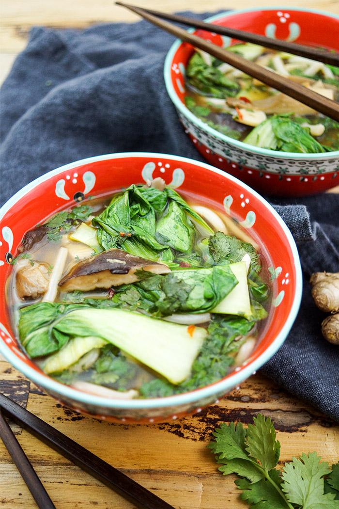 Klassische Asiatische Suppe mit Udon Nudeln Kräuterseitling, Austernpilze oder Shiitake-Pilze und Pak Choy, Vegetarisch, Vegan, Einfache, Schnelle Rezepte aus frischen Zutaten, Elle Republic