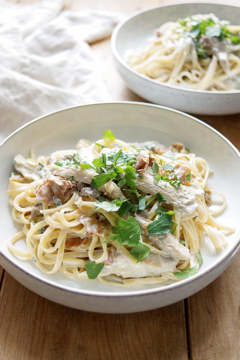 Linguine mit Austernpilzen, Parmaschinken und frischem Salbei, Mascarpone, Rezept