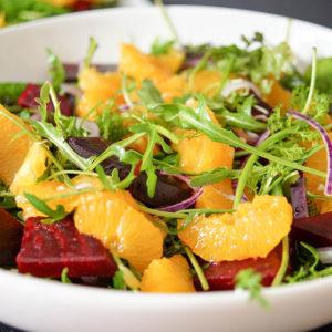 Roasted Beet Salad in a Lemon-Pistachio Vinaigrette