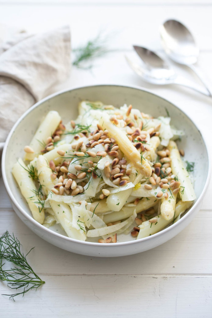 White Asparagus Salad with Fennel, Dill, Pine Nuts