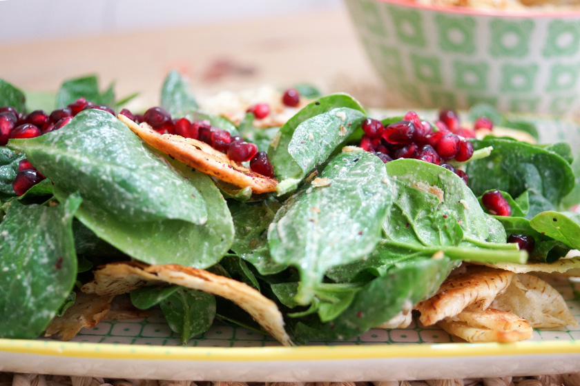 Spinach Salad with Tahini-Dressing, Sumac Pita & Pomegranate