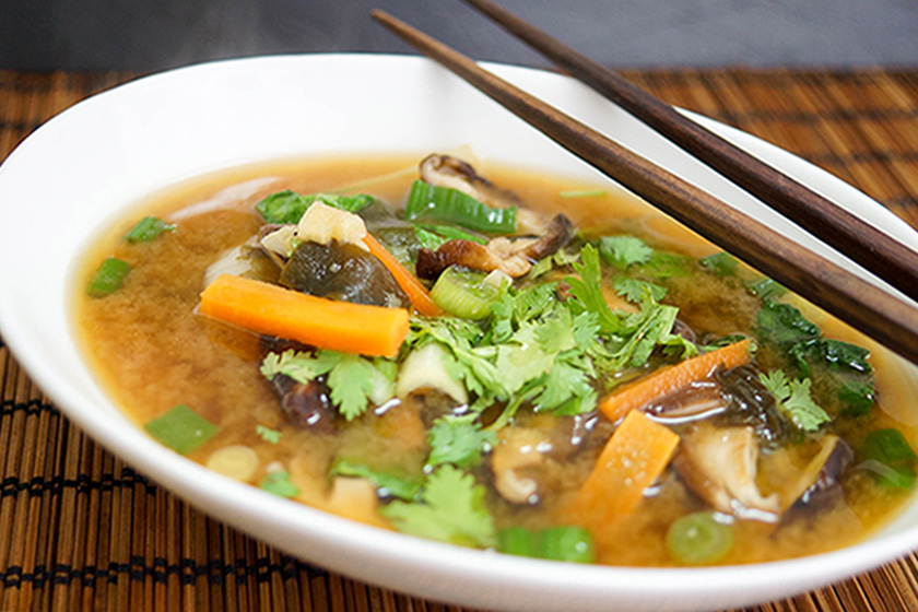 Miso Soup with Shiitake Mushrooms and Baby Bok Choy