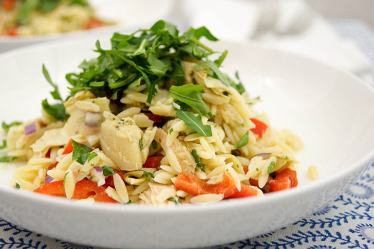 Mediterranean Orzo with Tuna, Artichokes, Parsley and Mint