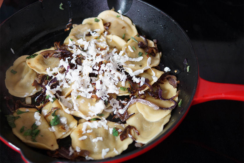 Koulouria Ravioli with Caramelized Onions, Oregano and Feta