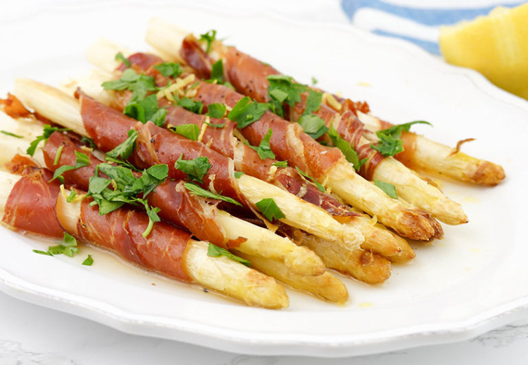 Prosciutto Wrapped White Asparagus with Zesty Lemon