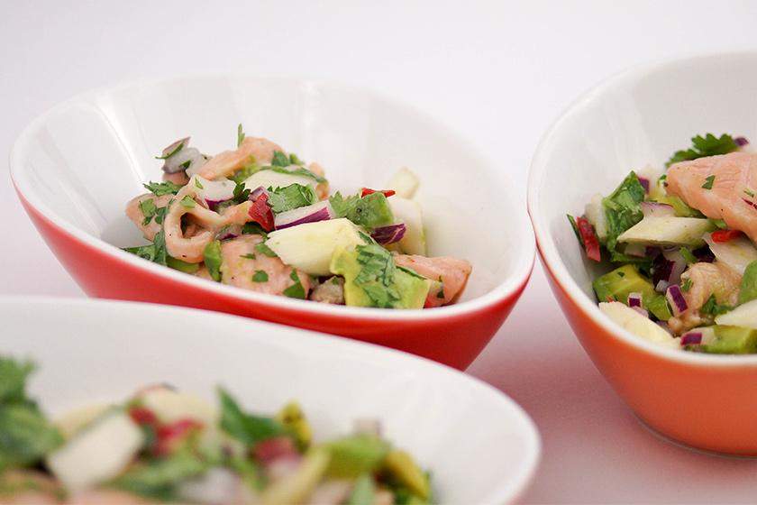 Lachs Ceviche mit Spargel