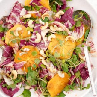 Dattelpflaume (Persimmon) und Brunnenkresse-Salat mit Rhabarber-Ingwer-Dressing von Elle Republic