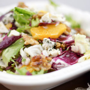 Frisée Salad with Roquefort, Candied Walnuts and Oranges
