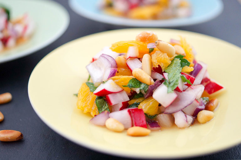 Spring Radish Salad with Orange, Mint & Pine Nuts