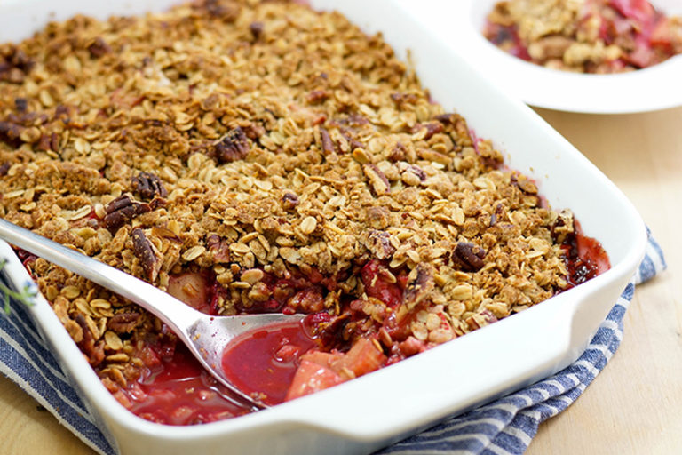 Raspberry Rhubarb Maple Crisp
