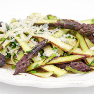 Shaved Viola Asparagus in a Lemon Vinaigrette