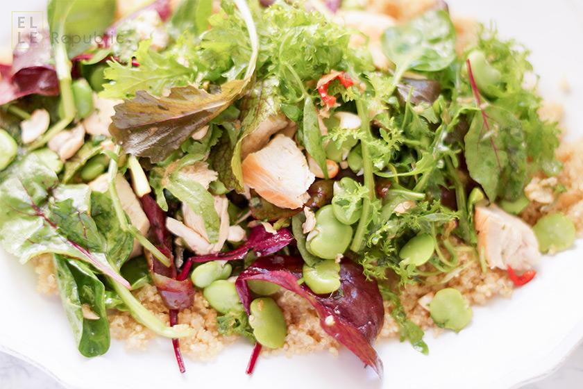 Asiatischer Quinoa-Salat mit Huhn und Fava Bohnen