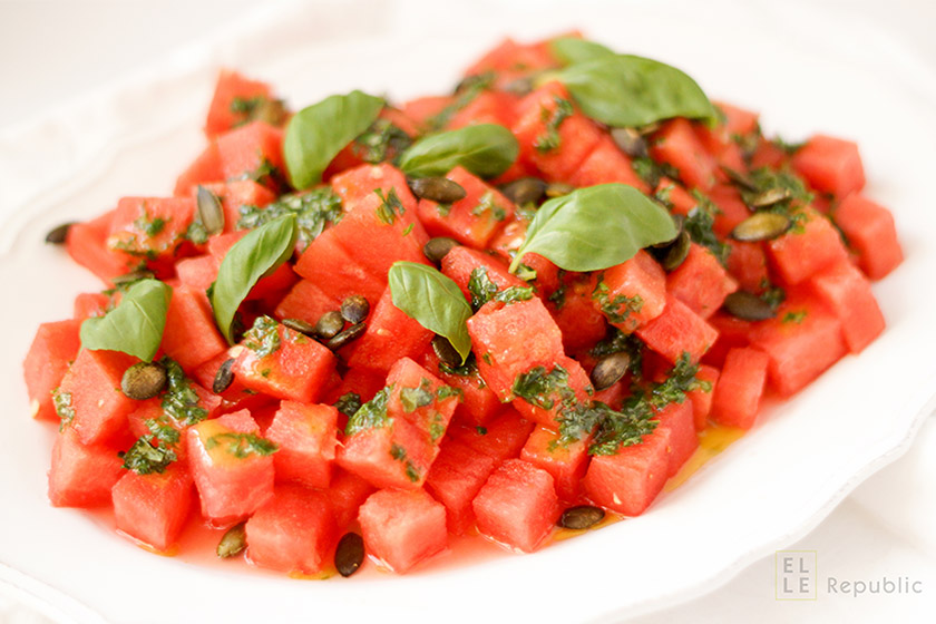 Watermelon Salad with Basil Oil & Pumpkin Seeds