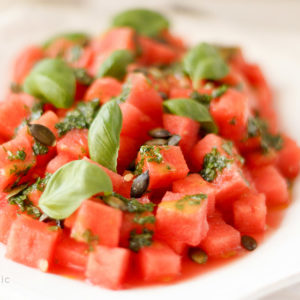 Watermelon Salad‏ with Basil Oil & Pumpkin Seeds
