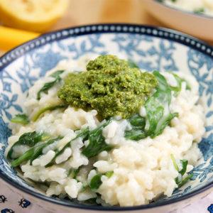 Zitronen Risotto mit jungem Spinat, Risotto ohne Rühren