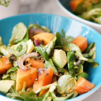 Avocado Salad with Papaya and Sweet Red Onion