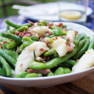 Summer Beans with Pears and Bacon