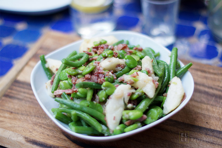 Summer Green Beans with Pears and Bacon