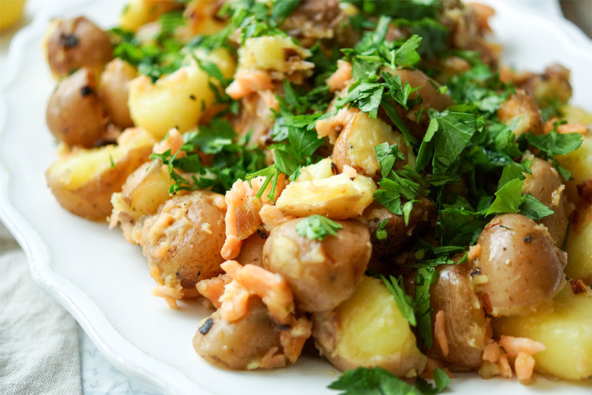 Pan-fried Potatoes with Smoked Salmonn