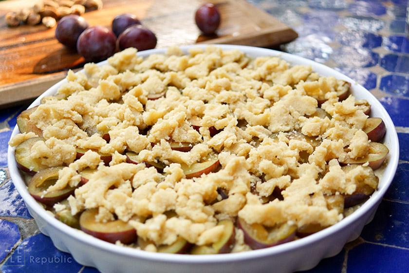 Zwetschgenkuchen mit Vanille und Crème Fraîche