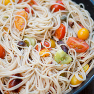 Pasta with Heirloom Tomatoes, Anchovies, Capers & Olives