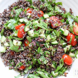 Quinoa Sommer-Salat mit Honig-Zitronen-Ingwer-Dressing