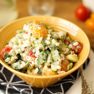 Tomato Barley Salad with Herbs, Yogurt & Lemon