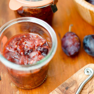 Plum Chutney with Sour Cherries