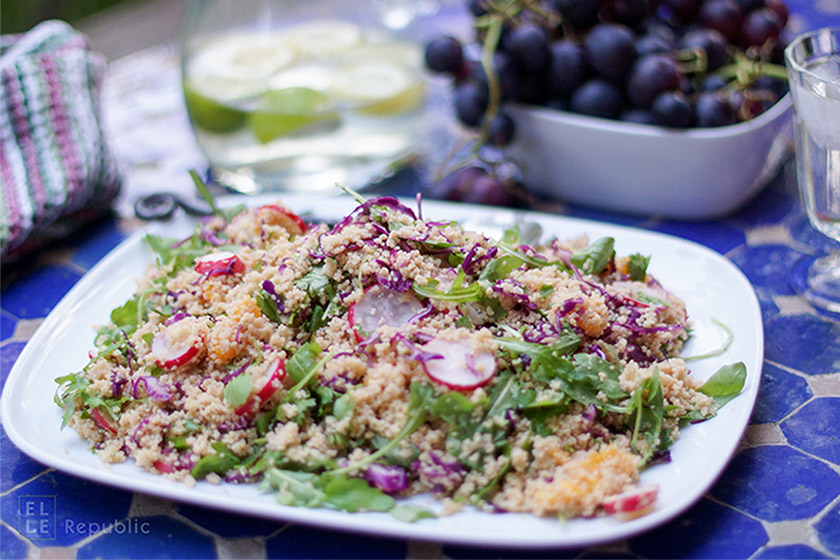 Gesunder Couscous Salat mit Radieschen und Orangen