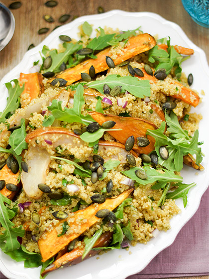 Roasted Sweet Potato Pear Salad with Quinoa