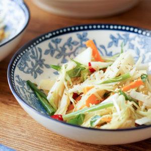 Gesunde Coleslaw, Krautsalat mit Kohlrabi, Karotten, Spitzkohl und asiatischem Dressing