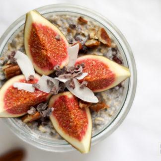 Chia Overnight Oats mit Haferflocken, Chia Samen, Mandelmilch, Frühstück, abnehmen, Diät