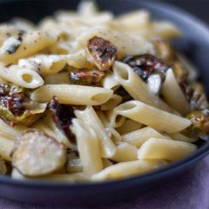 Rosenkohl geröstet mit Blue Cheese Penne, Blauschimmelkäse, Roquefort, vegetarisch, Gorgonzola