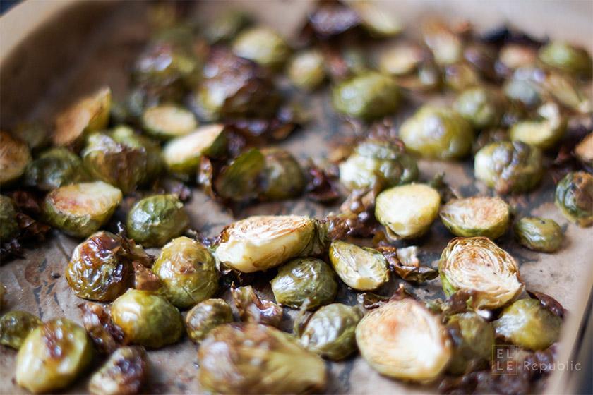 Rosenkohl im Ofen geröstet für Blue Cheese Penne,vegetarisch