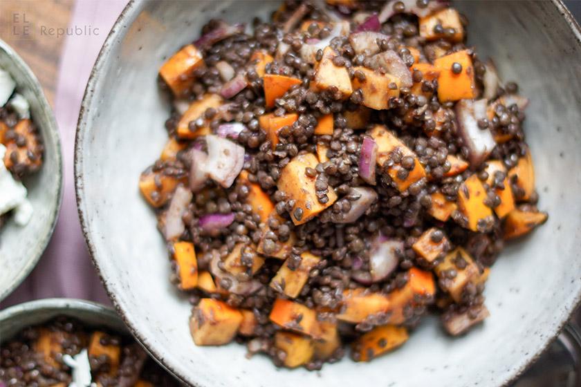 Sumach Linsen mit Persimonen, Scharon, Sharon, Kümmel, vegetarisch, abnehmen, Diät, low fat